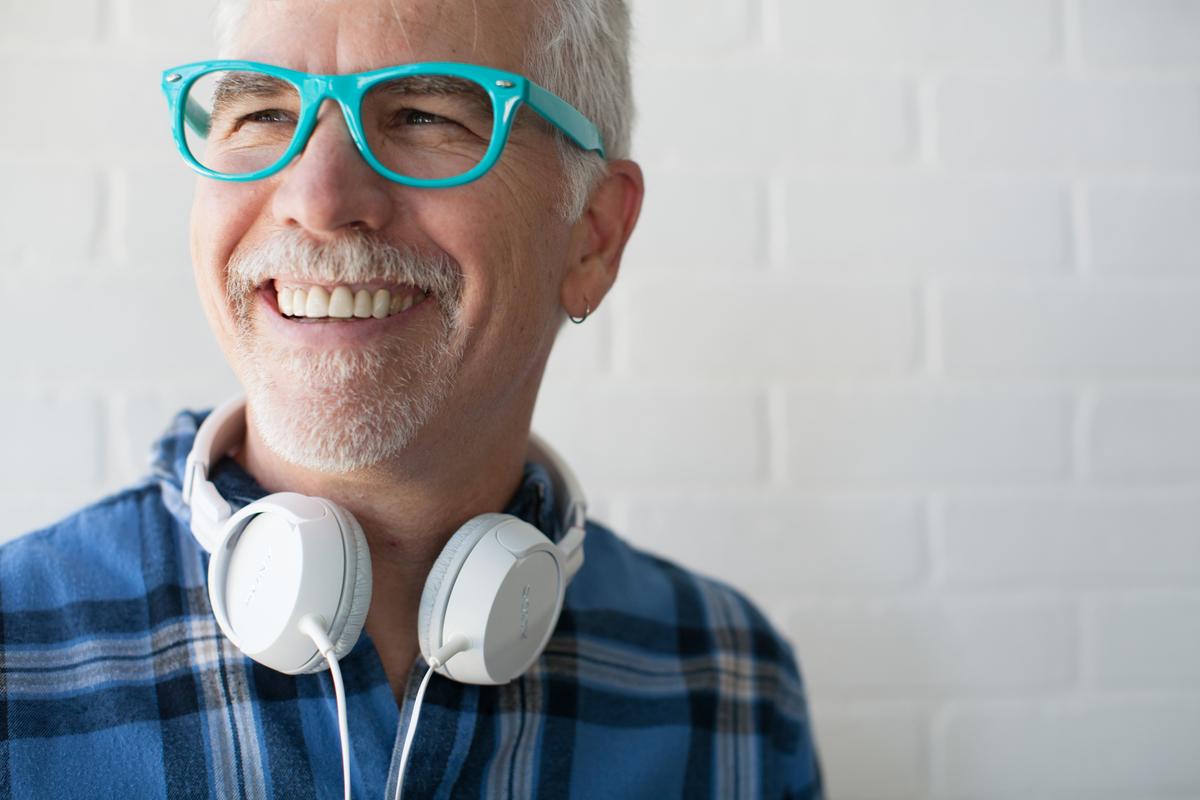 man headphones